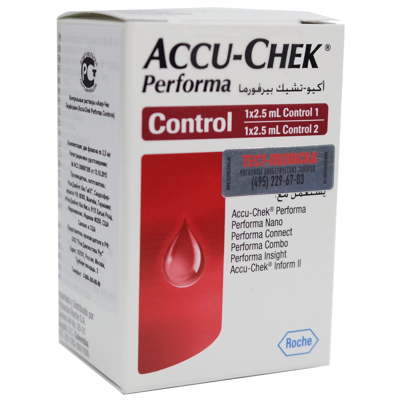 Контрольный раствор для глюкометра Акку Чек Перформа Нано и тест  Контрольный раствор для глюкометра Акку Чек Перформа